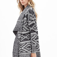 FOREVER 21 Geo Striped Knit Cardigan Black/Cream