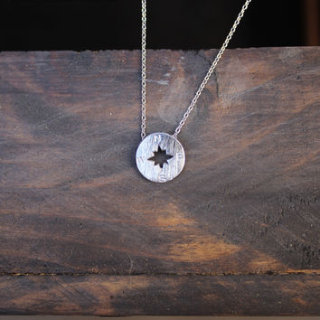 unique tiny dainty compass necklace - silver plated minimalist mod necklaces jewelry