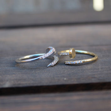 adjustable crystal nail ring - gold, silver dainty great as gift designer inspired nails jewelry rings