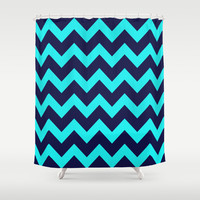 Chevron Navy Turquoise Shower Curtain by Beautiful Homes