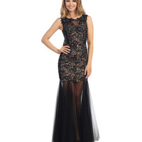 Black Lace & Tulle Cap Sleeve Mermaid Gown Homecoming 2014