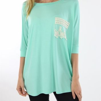 Mint Tunic with Lace Pocket
