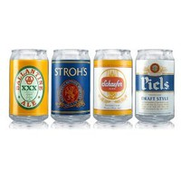 Luminarc Brewery Classic 4-Piece Assorted Beer Labels Can Glass, 16-Ounce
