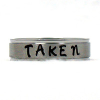 Taken Ring, Name Ring, Stainless Ring, Stainless Steel Ring, Personalized Ring, Custom Name Ring, Hand Stamped Ring, Hand Stamped