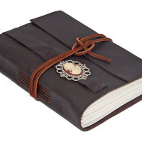 Dark Brown Leather Wrap Journal with Cameo Bookmark