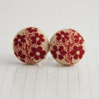 Little Button Earrings  Red Flowers by colouredsquares on Etsy