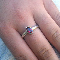 Natural red garnet ring in solid sterling silver with bezel or rubover setting, January birthstone, red gemstone, affordable exquisite gem
