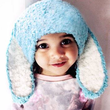 12 to 24m Spearmint Bunny Hat Baby Beanie, Crochet Toddler Hat, Unisex Bunny Ears, Mint Blue White Flopsy Rabbit Baby Photo Prop