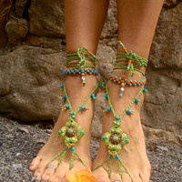 NEW Pistachio BAREFOOT SANDALS green Sandals Soleless shoes crochet beach wedding bohemian gypsy shoes photo shoot props made to order