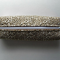 Fabric Boxed Pencil, Craft or Cosmetics Case, in Leopard Spots