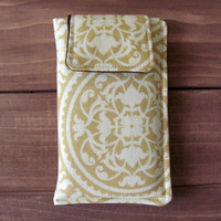 Fabric iPhone or iPod Touch Sleeve Cover Case, in Secret Garden Gate in Moss