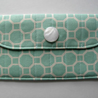 Fabric Wallet Clutch with Pearl White Button, in Aqua Beehive