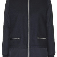 Wool Blend Longline Bomber Jacket - Navy Blue