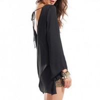 Draped Back Bell Sleeve Top