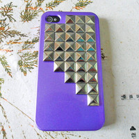 silver pyramid stud purple Hard Case Cover For Apple iPhone 4,4S ,iPhone 4 Case, iPhone 4s Case, iPhone 4 Hard Case,iPhone 4 GS ,cover-015