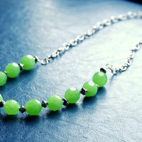 Vintage Inspired Green Beaded Necklace