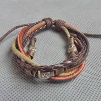 Jewelry bangle leather bracelet skeleton bracelet men bracelet women bracelet made of ropes skeleton and leather cuff bracelet  SH-1173