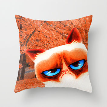 Autumn and Angry Cat Throw Pillow by Erika Kaisersot