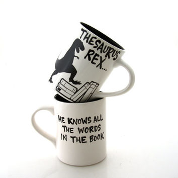 thesaurus rex, t rex, dinosaur mug, gift for book lover or reader
