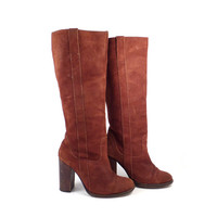 Suede Leather Boots Vintage 1990s Rust Brown High Heel Heeled Women's size 7 1/2