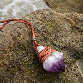 Echoz Crystals Gypsy Leather Wrapped Crystal Amethyst Necklace