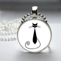 Round Glass Pendant Bezel Pendant Cat Pendant Black Cat Necklace Photo Pendant Art Pendant With Silver Ball Chain (A3894)