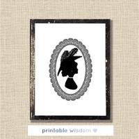 Victorian Silhouette Printable, vintage portrait print, wall art decor - digital, custom