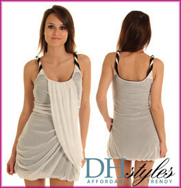 Wow-175-White-Black Stylish Twist Strap Drape Bubble Dress