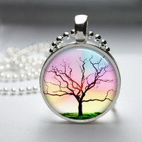 Round Glass Pendant Bezel Pendant Tree Pendant Tree Necklace Photo Pendant Art Pendant With Silver Ball Chain (A3546)