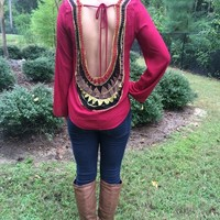 Open Back Fall Blouse from Something Cute Boutique