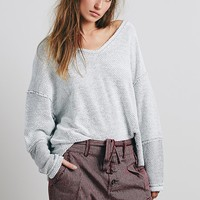 Free People Womens Chunky Destroyed Pullover - Ivory Combo