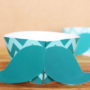 3D Hipster Mustache Cupcake Wrapper Set – printable cupcake wraps in teal & aqua blue chevron  - printable party supplies - INSTANT DOWNLOAD