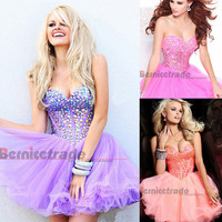 Free Shipping Purple/Green/Hot Pink/Coral Short Mini Tulle Sweetheart Crystal Party Prom Cocktail Dress Homecoming dresses 2014-in Homecoming Dresses from Apparel & Accessories on Aliexpress.com | Alibaba Group
