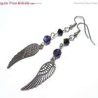 Angel wing earrings, Silver with purple crystals