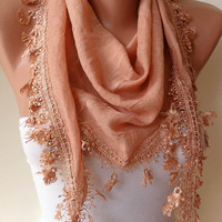 Amber Color Silky Scarf with Trim Edge