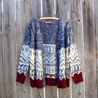 RESTOCKED native navy and burgundy open cardigan grandpa sweater oversized cozy soft knit boho bohemian indie fashion fall winter clothes