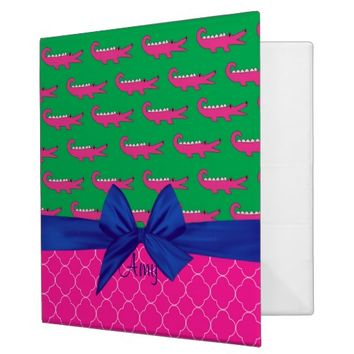 Preppy Pink Alligator and Quatrefoil Binder