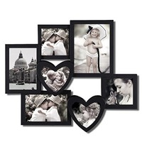Adeco [PF0466] 7-Opening Heart Shaped Black Plastic Wall Hanging Collage Picture Photo Frame - Home Decor Wall Art