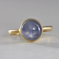 Star sapphire ring 18k gold by Onestonenewyork on Etsy
