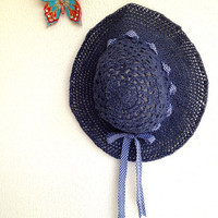 Adjustable Crocheted natural raffia Dark Blue navy Indigo Summer Sun Hat With White navy plaid Ribbon