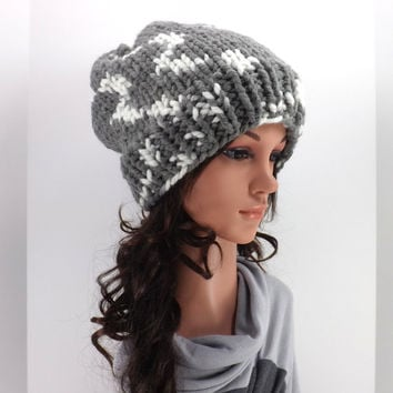 Knitted Chunky Slouchy Hat /SEAGULL/, Unisex Knitted Slouchy Beanie, Fall/Winter Hat, Fashion Accessory 2014