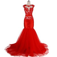 VILAVI Mermaid Off-the-shoulder Short Floor-length Tulle Prom Dresses