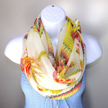 Designer Chiffon Beige Colorful Feather printed scarf, Beach Cover-Up, Fashion Spring Summer Chiffon Scarf 2014