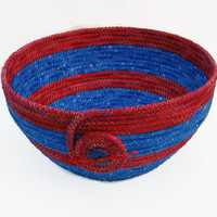Red and Blue Coiled Fabric Bowl, Basket
