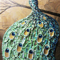 "CUSTOM Abstract Painting Peacock Textured Contemporary Impasto Art Palette Knife Blue Green Gold MADE to ORDER xl to 40"" -Christine Krainock"