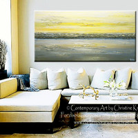 CUSTOM Art Abstract Painting Yellow Grey Modern Textured Urban Contemporary Horizon Gold White Horizon Coastal Wall Decor SIZES  -Christine
