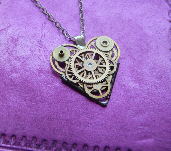 "Clockwork Heart Necklace ""Yearning"" Elegant Cool Industrial Heart Steampunk Necklace Love Choker Sculpture by A Mechanical Mind"