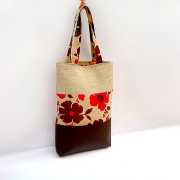 Tote Bag - Leather Bag - Brown Canvas bag - Handbag