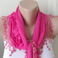 Neon Pink  Cotton Scarf with three roses and tassel Lace