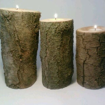 Rustic Tealight Candle Holder Centerpiece, Log, Indoor or Outdoor, Wedding Centerpiece, Patio
